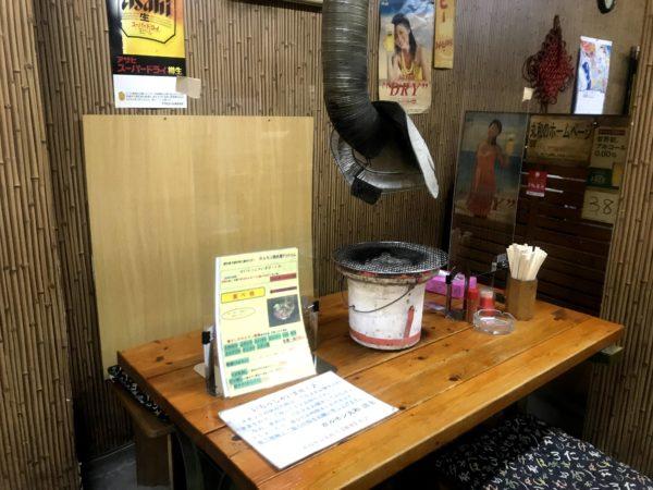 ホルモン丸和の感染対策テーブル席